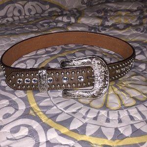 3D Western Rhinestone leather belt